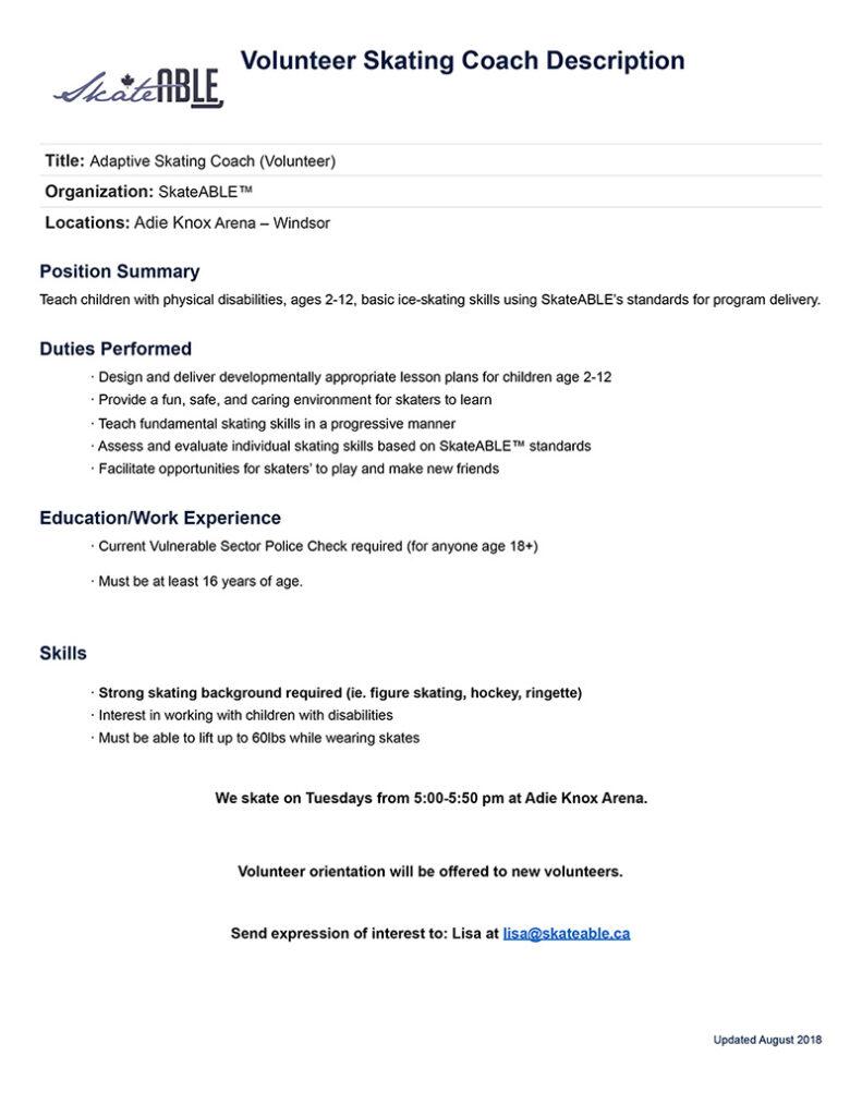 Volunteer Coach Position Description